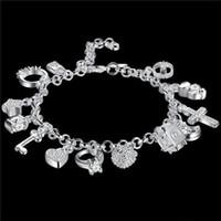 Оптовые модные горячие женщины 925 стерлингового серебра 925 серебро 925 серебряный браслет ювелирные изделия женские аксессуары бесплатная доставка