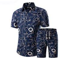 2020 estate floreale della stampa di modo shirt Maglie a manica corta da uomo + bicchierini di Uomo Casual Abbigliamento Uomo Imposta Tuta Plus Size 5XL
