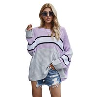 Women Wardrobe Casual Striped Patchwork Sweater Round Neck Batwing Sleeve Oversized Knit Pullover Sweater