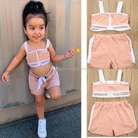 어린이 디자이너 의류 여자 야외 스포츠 의상 어린이 지퍼 슬링 조끼 + 짧은 2 개 / 설정 여름 스포츠웨어 아기 의류 세트 탑