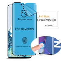 3D Eğri Tam Yapışkan Tutkal Ekran Koruyucu Film İçin Samsung Galaxy S20 Not 20 Ultra S10 S8 S9 Not 10 Artı 9 8 No temperli cam