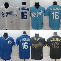 2020 رويالز الرجال جيرسي # 16 بو جاكسون المنزل أزرق أبيض رمادي الرجال النساء الاطفال البيسبول الفانيلة