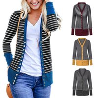 Frauen Langarm-Snap Button-Down-Gestreifte Knit Rippstrickbündchen beiläufige Strickjacke 2020 Female Herbst Outwear Plus Size