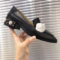 Clásico de tacón alto zapatos del barco de lujo de diseño 100% cuero Ocupación de perlas zapatos de tacones altos zapatos de vestir de metal Mujer perezosa tamaño 35-42 US11