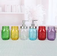 480ml botella de albóndis botella líquido dispensador de jabón bomba de vidrio frasco de acero inoxidable tapa encimera encimera loción herramienta de almacenamiento de baño LJJP437