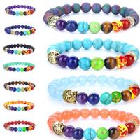 Yoga 7 chakra Bracelet en pierre naturelle Bouddha Tête Tiger Eye Lava Bead Bracelets Femmes Mens Bijoux de mode et cadeau sableux