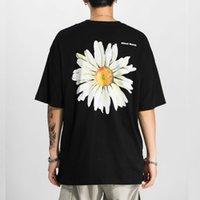 Harajuku Daisy Flower Print Tshirts Casual Streetwear Short Sleeve Tops Tees Men Hip Hop Fashion Summer T Shirts Male