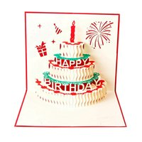 Happy Birthday Postcard Greeting Gift Cards Paper 3D Handmade Up Laser Cut Vintage Cake with Envelope red
