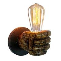 Lampe Vintage Loft Fist Résine Forme mur Lumières E27 Edison Ampoule Bar Coffe Shop Salon industriel Entrepôt mur Lampes