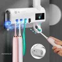 2020 NOUVEAU Smart UV Stérilisateur Désinfection et stérilisation Porte-brosse à dents de dentifrice automatique de dentifrice Matrice murale