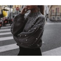 Women' s O- Neck Pullovers Lady Casual Loose Pearl Decor ...
