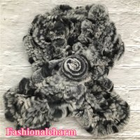 Women's Real Rex  Rabbit Fur Scarf Headbands Handmade Girl Ring Cowl Snood Knitted elastic Scarves Winter Warm Neck Scarf