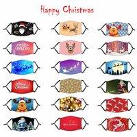 Maschere bambini di Natale Babbo Natale della maschera di natale dei cervi stampa digitale Maschera lavabili riutilizzabili Bocca Maschera Con PM2.5 filtro 1000pcs IIA563