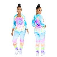 Womens Designer Fatos Tie Dye Imprimir 2PCS Conjuntos Calças Lápis de manga longa das mulheres roupas sexy Ternos Casual
