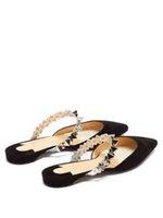 Yaz Terlik Gelin Ayakkabı Flats Sandal, Kırmızı Taban Topuklar Sivri Burun Gliiter Deri Gezegen Choc çivili-kayışı parıltı backless makosenler Ayakkabı