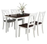 米国在庫倉庫5ピースセットホワイト+チェリーダイニングテーブルセットホームキッチンテーブルと椅子の食事SH000088AAK