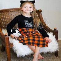Roupas crianças Designer Halloween manga comprida Pullover Sweater Moda Plaid Skirt Outfit Outono Inverno menina camisola Vestido Suit 2020 D81205