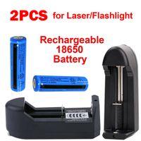 El feneri Torch Lazer Kalem + 2x Evrensel Şarj Cihazı 2PACK 3.7V 11.1W BRC Li-ion şarj edilebilir 18650Batteriers 3000mAh batarya