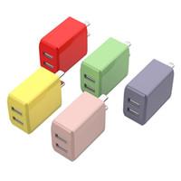 3C 5V 2A Çift USB Bağlantı Noktası Duvar Ana Seyahat Şarj Adaptörü Cep Telefonu Şarj için iphone Android Sıvı Renk USB Tak