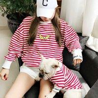 Hundebekleidung gestreifte Banane Pet passende Kleidung Welpenkleidung für Hunde Hemd Elternkind Französisch Bulldog