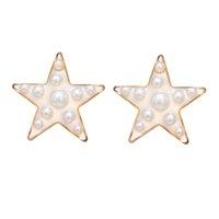 Joyería pendientes de perlas de Corea imitación de la manera nuevo oro geométrico del corazón de la estrella de la resina Pendientes de boda Mujeres