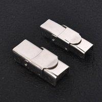 5sets pulsera de acero inoxidable cierre magnético Conector metálico Crimp fines para corchete cordón de cuero hebilla Hook joyería que hace bricolaje