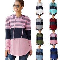 9 cores Mulheres hoodies camisolas Designers Vestuário Autumn manga comprida Pullover com capuz da camisola Tops solto listrada dos retalhos T-shirt E81804