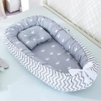 88 * 53cm Cama de nido de bebé con almohada Cuna portátil Cama de viaje para niños pequeños Cuna de algodón para bebé recién nacido BAJA DE BAJA BAMPERO LJ200818