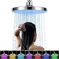 8-Zoll-LED-Duschkopf Farbwechsel Duschkopf Rund Regen Edelstahl Badezimmer RGB LED Licht Wasser Automatische Temperaturerfassungsspray