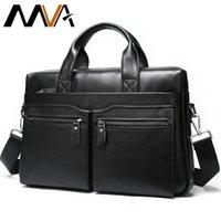 MVA Briefcase Mens Genuine Leather Bag Men Handbag Office Bag For Men Leather Laptop Bags For Documents Computer Bags 14 inch