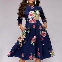 2020 neue Kleid-Abend-Party-Vintage-Blume druckt elegante Frauen Kleidung 3/4 Hülsen-Rundhalsausschnitt-A-line dünnes Midi-Kleid Vestid