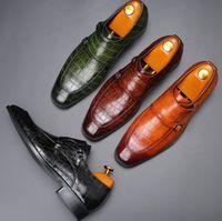 Hombres vestidos zapatos planos de cuero genuino Oxford para hombre Pisos de boda Party Office Mocasines 38-48 Tallas grandes