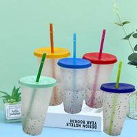 24 once Cambiare colore Bicchieri alcool Confetti bicchiere di plastica con arcobaleno di paglia di estate riutilizzabile bevande fredde Magic Cup boccali di birra caffè