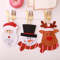 Nouveau moins cher Noël Arts de la table Set de Noël Cartoon Couverts Party Holder Fourchette Père Noël Couteau Fournitures de bureau Décoration A07
