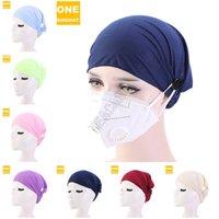 Katı Renk Geniş Saç Bandı Kafa Hairwraps Yüz Maske Hemşire Şapka Bere Headwears Spor Döngüsü Yoga Headbands D82703 için düğme Tutucuyla