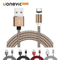 3 en 1 ligne magnétique Chargeur Câble en nylon Cordon rapide de charge Type C Micro USB Câble