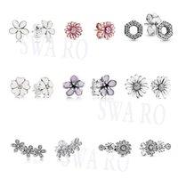 2020 Мода Новый Серебро 925 Sparkling Pavé, Розовый цветок маргаритки, Honeycomb шестиугольник, Trio серег Оригинал женщина подарка ювелирных изделий