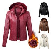 Cuir Femme Faux Aksr 2021 Veste PU plus Velvet Moto costume Couleur solide Automne et hiver Zipper à glissière