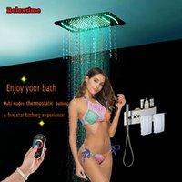 수건 선반 크리스탈 석영 노즐 라이트 LED 천장 샤워 헤드 비 폭포 JJ5301 욕실 온도 조절 숨어서 샤워 패널