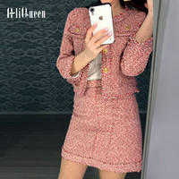 Tweed Set Suit 2019 Autunno Inverno Pista da donna Singolo Bresed Giacca Cappotto Cappotto + Nappe ad alta vita Bodycon Mini Gonna Set