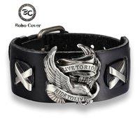 Bobo copertura di stile punk cavaliere maschio Aquila Genuine Leather Bracciale giro per vivere fascino braccialetti dei braccialetti per gli uomini pulseira de Couro