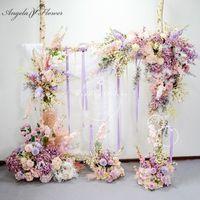 Bambino di colore rosa su ordinazione viola del fiore artificiale Row Wedding Arch decorazione Sfondo di fiori Props Stage Road guida parete