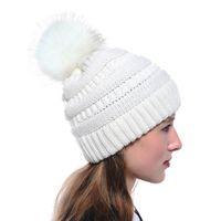 Women's Fashion Knitted Cap Autumn Winter Warm Hat Skullies Brand Beanies Hip-Hop Wool pompom Hats KKA2684