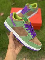Newest Authentic Dunk SP Low Veneer Man Running Shoes Autumn Green Skateboarding Shoes Deep Purple Suede Upper Men Sneakers With Box