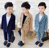 Güz erkek giyim setleri çocuk yaka uzun kollu bir takım elbise dış giyim + elastik bel pantolon 2 adet erkek giysi çocuk performans kıyafetleri a3939