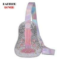 Spalla Forma Trendy chitarra Rosa Argento Laser borsa del diamante della giovane della ragazza il sacchetto casuale delle donne Crossbody Bag Petto Totes Flap