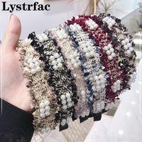 Lystrfac coreana Ins simple Raw rebabas con cuentas de perlas Diadema para muchachas de las mujeres del pelo del aro de la venda de las señoras de los accesorios del pelo
