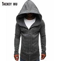 XJACKEY WU Tişörtü Erkekler Kış Moda Uzun Bölüm Erkekler Cloak Hoodie Sweatshirt Hırka Büyük Beden siyah eşofman Zip