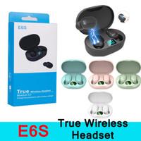 블루투스 기기 저렴한을위한 마이크와 E6S TWS 무선 이어폰 음악 스테레오 이어폰 LED 디스플레이 블루투스 장치 V5.0 헤드셋