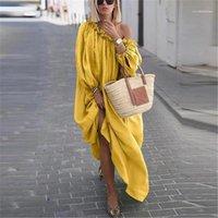 Шея Сплошной цвет Женские Длинные платья Повседневный конструктора Женщины Одежда Несколько стилей Изящные женщин вскользь Slash платья моды